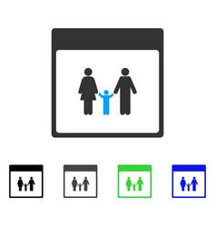 Family calendar page flat icon vector