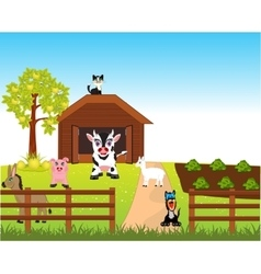 Farm with animal vector