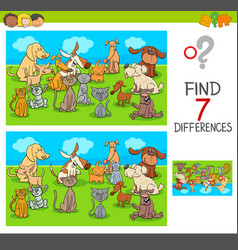 find differences game with pets animals vector image