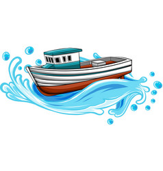 fishing boat on sea design vector image