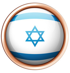 flag of israel on round badge vector image
