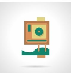 Flat color design action camera icon vector image