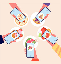Food photo bloggers photography foods on phone vector