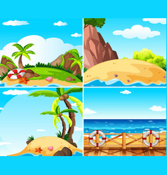 four scenes with island and ocean vector image