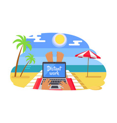 Freelancer with distant work on tropical beach vector