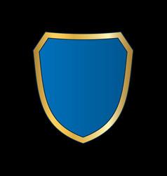 Gold-blue shield shape icon bright logo emblem vector