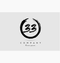 Grunge number 33 logo icon vintage design vector
