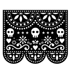 Halloween papel picado design with skulls mexican vector