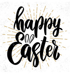 happy easter text lettering phrase for easter vector image