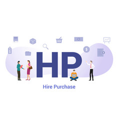 Hp hire purchase concept with big word or text vector