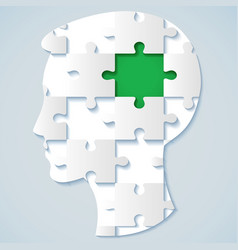 human face in the form of a puzzle with a green vector image