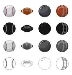 Isolated object of sport and ball icon set of vector
