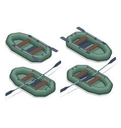 Isometric set icons rubber inflatable boats vector