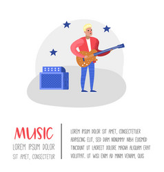 Jazz concert poster banner music guitar player vector