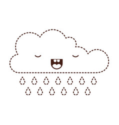 Kawaii cloud with rain in monochrome dotted vector