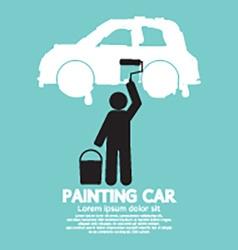 Man Painting Car On Wall Symbol vector