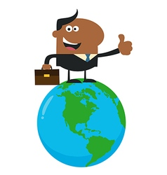 Man Standing On Top of the World Cartoon vector