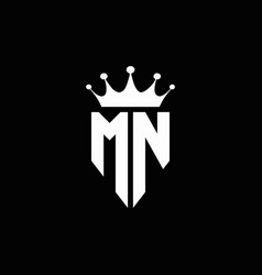 mn logo monogram emblem style with crown shape vector image
