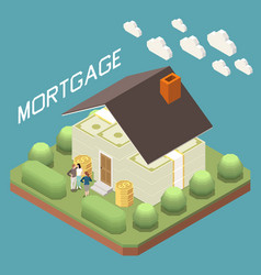 Mortgage loan isometric composition vector