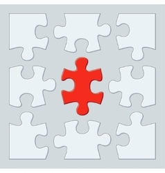 Nine puzzle pieces vector
