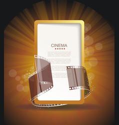 old cinema banner with film stripe roll cinema vector image