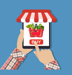 Online food shopping smartphone vector