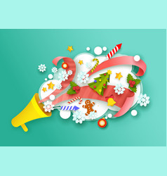 paper cut christmas symbols flying out of vector image