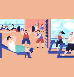 people training in gym strong active exercise vector image