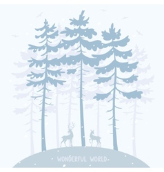Pine and deer vector