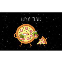 pizza slice and beer vector image