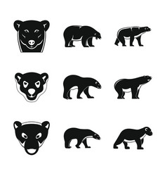 polar bear baby white icons set simple style vector image