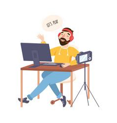 professional gamer recording video using camera vector image