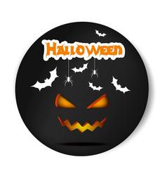 pumpkin smiling halloween black sticker vector image