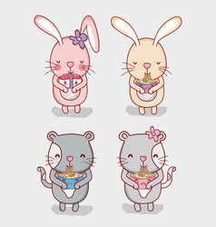 Rabbits and cats with food vector