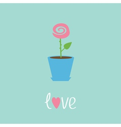 Rose in pot Love card vector