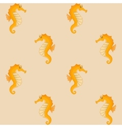 Seahorses yellow seamless background vector image