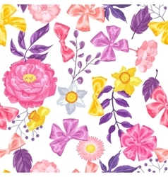 Seamless pattern with decorative delicate flowers vector
