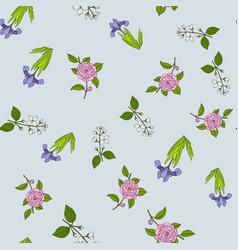 seamless pattern with dwarf lake iris japanese vector image
