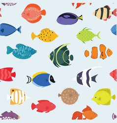 seamless pattern with fishes hand drawn undersea vector image