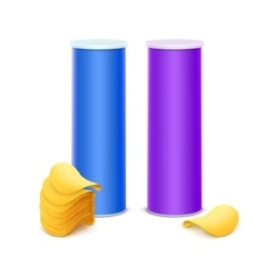 Set tin box container with potato chips vector
