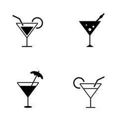 several style cocktail icons vector image