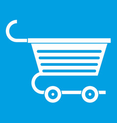 Shopping trolley icon white vector