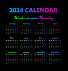 Simple 2024 year calendar weeks start on monday vector