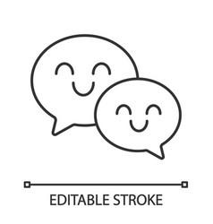 Smiling speech bubbles linear icon vector