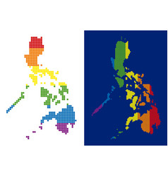 spectrum pixel dotted philippines map vector image