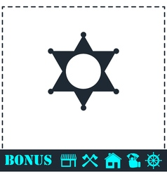 Star icon flat vector