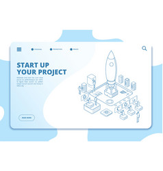 Startup landing page successful project launch vector