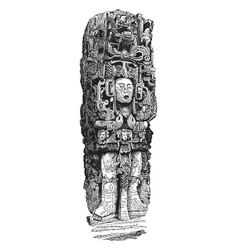 Stone idol at copan vintage vector