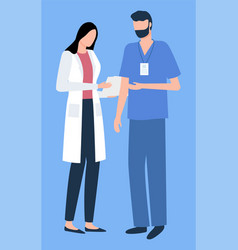 surgeon and nurse discussing hospital vector image