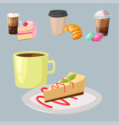 sweet hazelnut muffins delicious cake coffee cup vector image